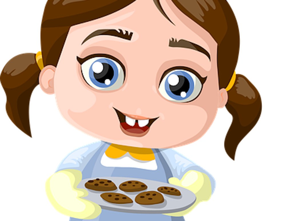 Ma nièce avec sa box culinaire enfant en cuisine