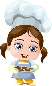 un enfant chef en cuisine avec ses cookies !